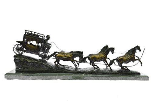 - Handmade European Bronze Sculpture C.M RUSELL STAGE COACH HORSE OLD WEST MARBLE BASE EXTRA LARGE Bronze Statue -UK57450M-Decor Collectible Gift