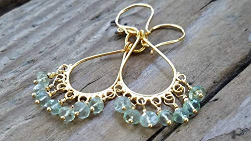 KYANITE AND 24K GOLD VERMEIL CHANDELIER EARRINGS