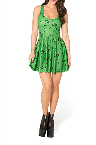 Zanuce Womens Sleeveless Floral Print Vintage Prom Dress(The Riddler)