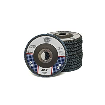 4.5 x 7//8 Premium Zirconia Flap Discs Grinding Wheels 80 Grit Type 27-10 Pack Benchmark Abrasives