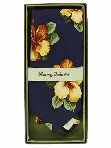 Tommy Bahama Necktie - Tommy Bahama Mens Printed Silk Neck Tie (Navy Floral)