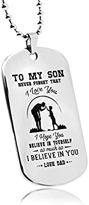 LITTONE Dad Mum to Son Mens Jewelry Dogtag Pendant Necklace Military Stainless Steel Dog tag Love Gifts
