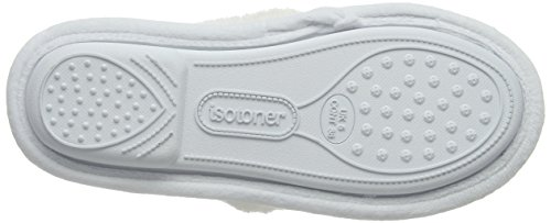 Blanc Femme Slippers Isotoner Whi Cross Bas Popcorn Chaussons White Strap p0FASc