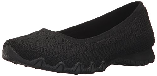 Witty Flat Ballet Bikers Skechers Women's Black Knit XwEv8q