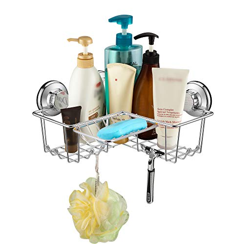iPEGTOP Suction Cup Corner Shower Caddy Bath Shelf - Combo Organizer Basket Holder with Soap Dish and 8 Hooks - Rustproof Stainless Steel for Bathroom Storage (Basket Combo Corner)