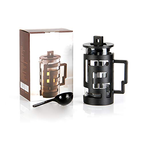 Zeroomade French Press Coffee Maker Stainless Steel&Glass Mini French Press Best Camping Coffee Press Pot Heat-Resistant Coffee Press Black 12 OZ(350ML) Review