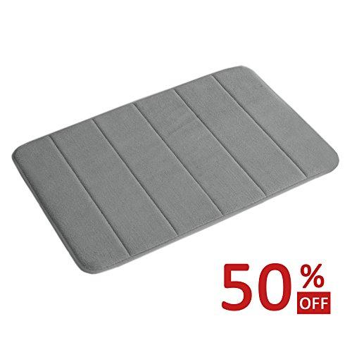 Floor Mat Light Cream (Memory Foam Coral Velvet Non Slip Bathroom Mat, 17W X 24L Inches (Gray Striped Pattern))