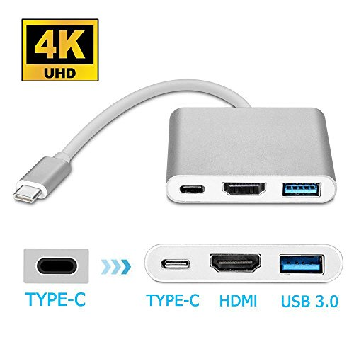 Type-C to HDMI/ USB 3.1 Type-C 4K Multiport Adapter, VPRAWLS USB-C HDMI Digital AV Adapter Charging & Connecting Converter for MacBook, Chromebook Pixel Devices to HDTV/Projector