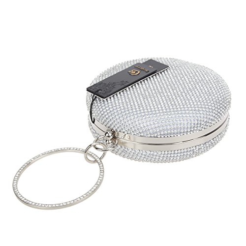 Wedding Women Clutches Ring for and Purses silver for Bonjanvye Evening Clutch Party IOZwIB