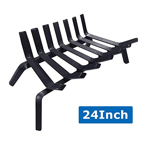 Fireplace Log Grate 24 inch Wide Heavy Duty Solid Steel Indoor Chimney Hearth 3/4 Bar Fire Grates for Outdoor Fire Place Kindling Tools Pit Wrought Iron Wood Stove Firewood Burning Rack Holder Black (Pit Iron Wrought Tools Fire)