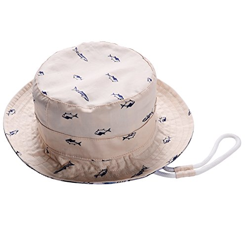 Baby Sun Hat Boy Girl - UPF 50+ Sun Protection Toddlers Kids Hats Infant Child Reversible Bucket Caps 2 Sides Available (Fish Beige, 12-24 Months) (Bucket Beige)