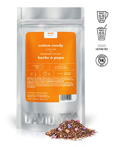 DAVIDsTEA Cotton Candy Loose Leaf Tea, Premium Green Rooibos Tea with Nut Brittle and Cotton Candy Sprinkles, 2 ounces / 50 grams