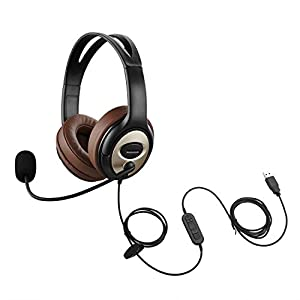 emaiker USB Headset with Microphone for PC Laptop w Mic Mute Volume Controller for Dragon Voice Recognition Dictation…