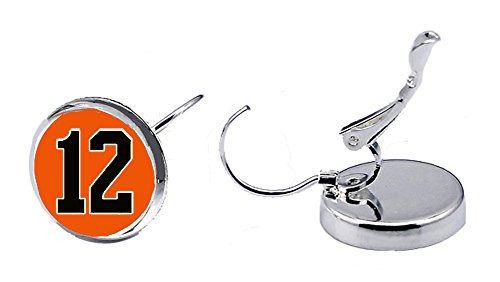 Number Charm Earrings (00-99) in Team Colors Orange & Black by Attitude Arcade