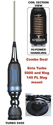 Sirio Turbo 5000 PL 10m & CB Mobile Antenna with Sirio Mag 145 PL Mag Mount