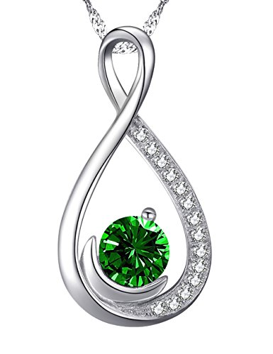 Love Infinity Half Moon Jewelry Gifts for Women Green Emerald Necklace Birthday Anniversary Gifts for Wife for Lady for Her Daughter Grandma Sterling Silver Swarovski, 18''+2'' Chain by Dorella