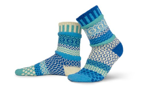 Solmate Socks - Odd or Mismatched Crew Socks for Women or for Men, Made with Recycled Cotton Yarns in USA, Zephyr Small