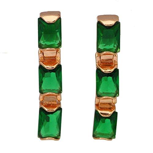 Gold Trinket Silver Plated Crystal (fonk: Graceful ! trinket 18K real gold plated green CZ zircon Olivine Earrings 58)