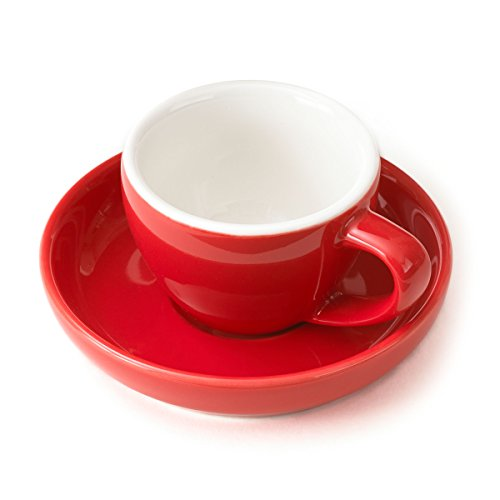 Espresso Cup and Saucer - (1 PC Set) 3-Ounce Demitasse for Coffee, Vibrant Color Choices, Durable Porcelain (Poppy Red) (Red Vibrant Poppies)