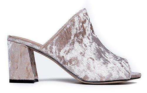 Velvet by Mule J Peace Shoe Comfortable Heel Slipper High Adams Sandal Everyday On Trendy Slip Heel Taupe Cute HUHqRATx