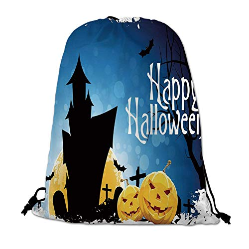Halloween Lightweight Drawstring Bag,Gothic Ancient Castle Moon Cruciform Graveyard Tree Silhouette Abstract for Travel Shopping,One_Size -
