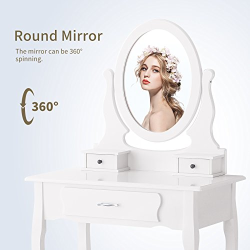 Mecor Vanity Makeup Table Set with Oval Mirror/3 Drawers,Wood Dressing Table Bedroom and Cushioned Stool,White