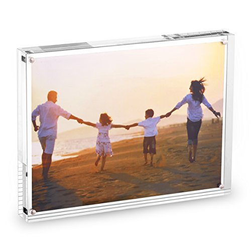 HESIN 6 by 8 inch Clear Acrylic Photo Frame Thickness 12+12mm,Stable Tabletop Magnet Frame Double Sided Picture Frame with Gift Box Package