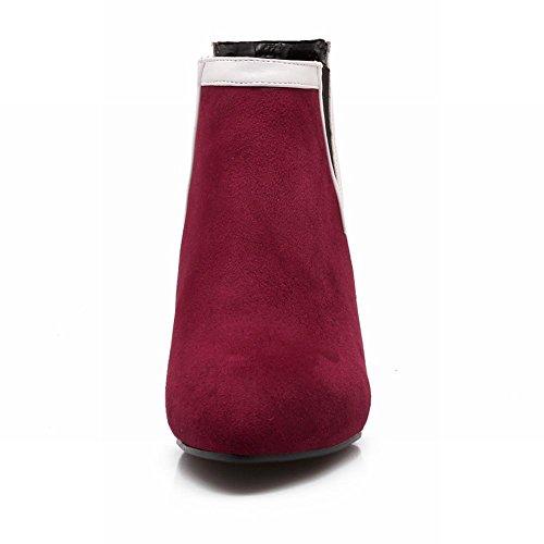 Carolbar Mode Féminine Bungee Bout Pointu Charmes Sexy Talon Aiguille Cheville Robe Bottes Vin Rouge