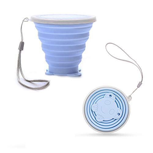 yayacone Silicone Collapsible Travel Cup- Folding Water Cup,Drinking Mug with Lids for Travel, Hiking, Camping- BPA Free,FDA Approved,Reusable, Portable (1 Pack) (Blue)