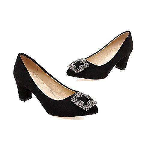 AgooLar Damen Mittler Absatz Rein Ziehen auf Mattglasbirne Spitz Zehe Pumps Schuhe Schwarz