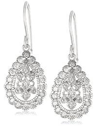 Sterling Silver and Swarovski Zirconia Vintage-Inspired Teardrop Earrings