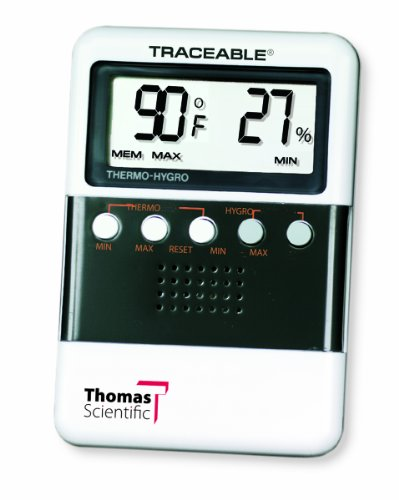 Thomas ABS Plastic Traceable Digital Humidity and Temperature Meter with 3/4'' High LCD Display, 3-7/8'' Length x 2-5/8'' Width x 5/8'' Thick by Thomas