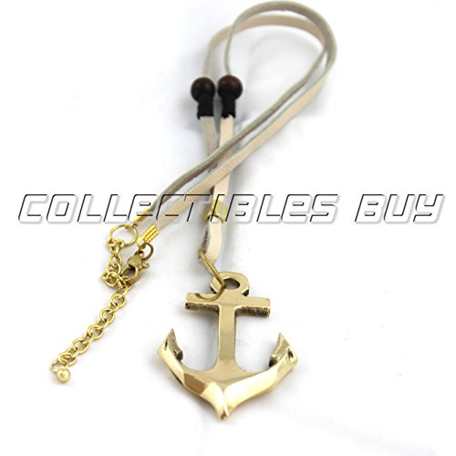 Collectibles Buy Marine Ship Handmade Anchor Pendant With White Leather Cord New Fashion Article For Unisex Looks Like Retro World Brass Finish Necklace - Leather Like Finish