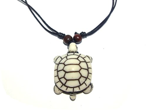 White Turtle Necklace – Hawaiian Style Sea Turtle Pendant Necklace – Handmade Necklace (Turtle Pendant Necklace)