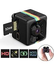 Mini Telecamera Spia Nascosta con Micro sd 32 gb, FLYLINKTECH Full HD 1080P Microcamera Spia Interno/Esterno Rilevamento di Movimento Portatile Videocamera di Sorveglianza Video