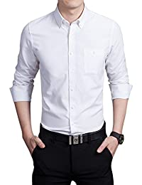 Mens Basic Collared Long Sleeve Dress Shirt One-Pocket