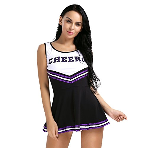 TiaoBug Women School Girls Musical Cheerleader Costume Uniform Fancy Dress Black Medium - Glee Cheerleading Uniform