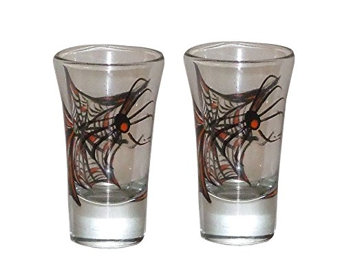 Set of 2 Halloween Shooters. Whimsical Spider in his Web. Hand -
