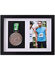 xj Frame to Display Medals,Sports Medal 3D Box Photo Frames,Picture Framing Direct Black and Walnut Color 3D Deep Box Frame to Display War/Military/Sports Medals (1 Medal + 1 Photo), black
