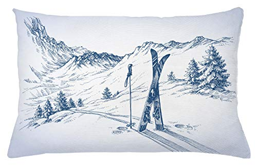 "Ambesonne Winter Throw Pillow Cushion Cover, Sketchy Graphic of a Downhill with Ski Elements in Snow Relax Calm View, Decorative Rectangle Accent Pillow Case, 26"" X 16"", Blue White"