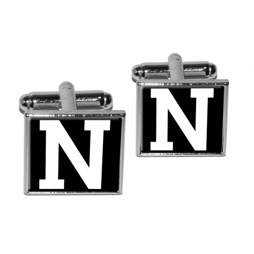 Letter N Initial Black White Square Cufflink Set - Silver