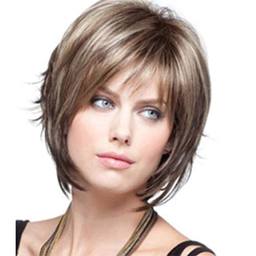 Short Pixie Human Hair Full Cover Cool Wigs Side Bangs for Women (a)