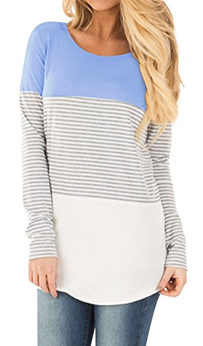Light Blue Block (Womens Casual Color Block Tunic Tops Back Lace Long Sleeve T-Shirt Blouses Light Blue L)
