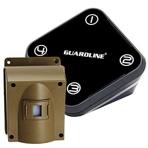 Guardline Wireless Driveway Alarm Outdoor Weather Resistant Motion Sensor & Detector- Best DIY Security Alert System- Stay Safe & Protect Home, Outside Property, Yard, Garage, Gate, Pool. ()