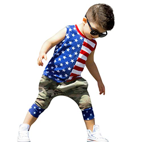 Independence Day Toddler Baby Boys Outfit, Summer Stars Striped Patriotic Tank Tops + Camouflage Shorts Pants Suit (Red, 6-12Months)