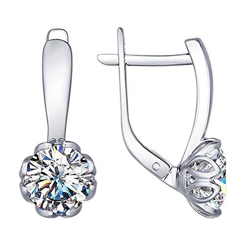 Paradis Love Sokolov 925 Sterling Silver English Lock Flower Earrings with Genuine Cubic Zirconia Swarovski Crystal Girls Women Gift Package