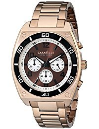 Watch Multifunction Dial (Caravelle New York 45A110 Rose Gold Brown Dial Multifunction Watch)