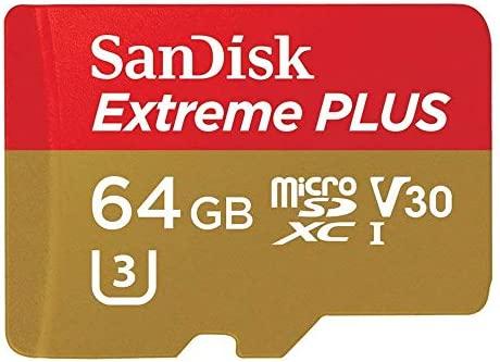 SanDisk Extreme Plus - Tarjeta de Memoria MicroSDXC (64 GB, Adaptador SD de hasta 100 MB/s, Clase 10, U3, V30, A1 (Reciclado)