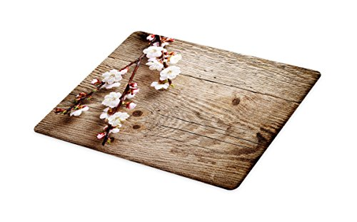Lunarable Rustic Cutting Board, Romantic Springtime Cherry Blossom Branch over an Old Table Love Valentine's Day, Decorative Tempered Glass Cutting and Serving Board, Small Size, Brown White