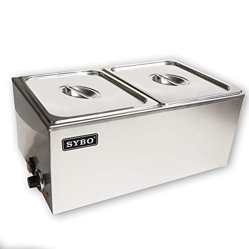 SYBO ZCK165A-2 Commercial Grade Stainless Steel Bain Marie Buffet Food Warmer Steam Table for Catering and Restaurants, ((2 Sections) ()
